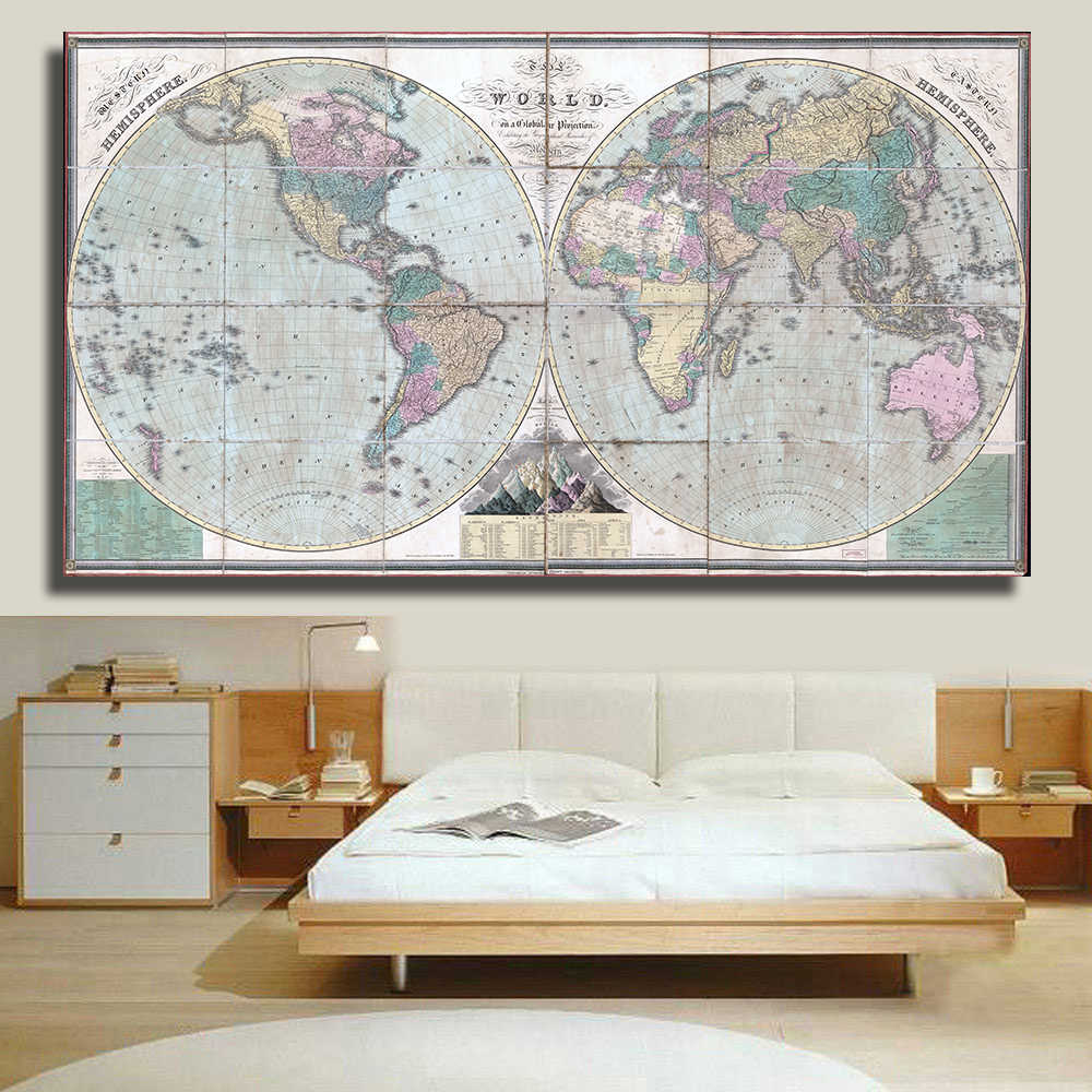 QKART Decorative Pictures Canvas Painting no Framed Old Political Map of the World 1826 ArtWork for Living Room Office Decor