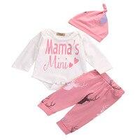 2018 Infant Clothing Autumn Winter Baby Girls Clothes Mama S Mini T Shirt Pants Headband Children