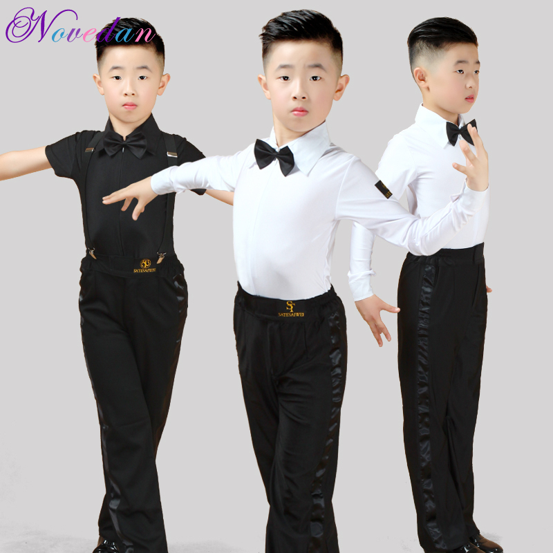 Boy Kids Adult Latin Costume Shirt Pants Tie White Boys Latin Dance Costumes 3 Pieces Suit Modern Ballroom Tango Rumba