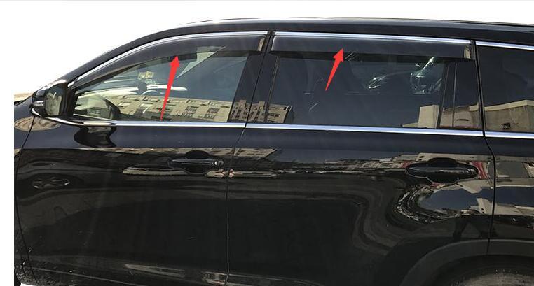 Finestrini laterali Pioggia Deflettori Guardia Visiera Weathershields Porta Ombra Shield Fit Per Toyota Highlander Kluger 2014 2015 2016 2017