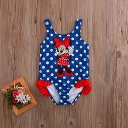 2017 Детский костюм, купальный костюм, купальный костюм в горошек, цельные костюмы для девочек, Танкини с рисунком мышки, От 1 до 5 лет для малыш... 2