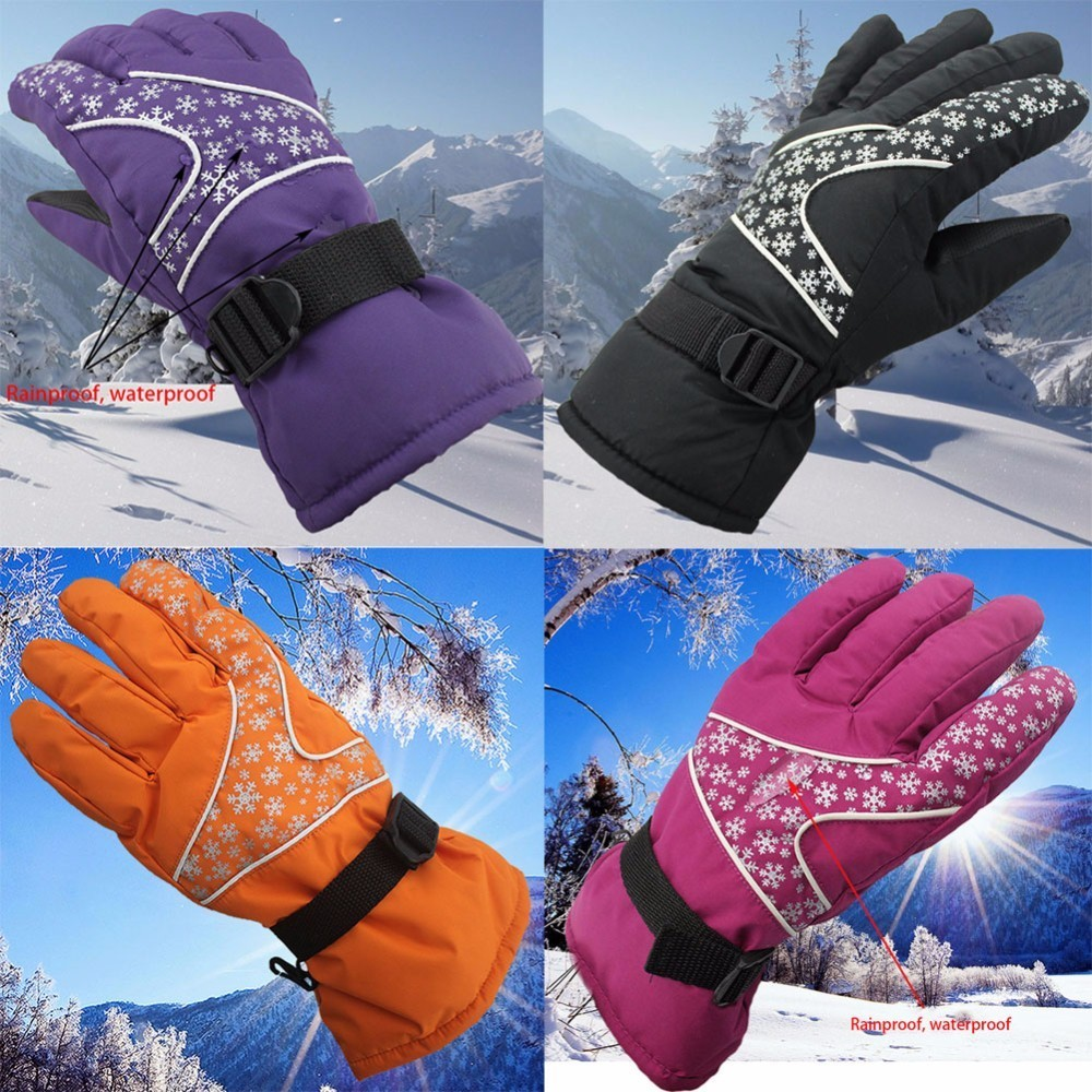 Women Outdoor Waterproof Wind-proof Fleece Lined 5-fingered Thermal Gloves For Touch Screen For Cycling Climbing Skiing