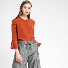 Women's solid bell sleeve silk blouse top 2017 summer ladies elegant shirt