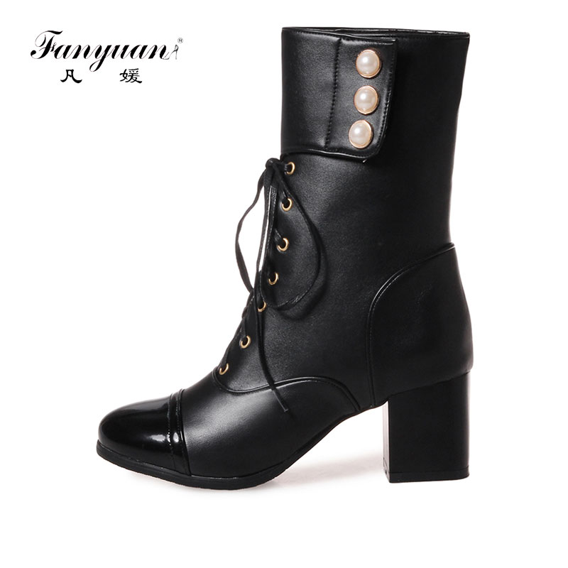 83313897a2a Fanyuan Plus Size 32-46 Platform High Heels Boots Lace Up Chunky Heel Ankle  Boots for Women New Fashion Pearl Short Booties