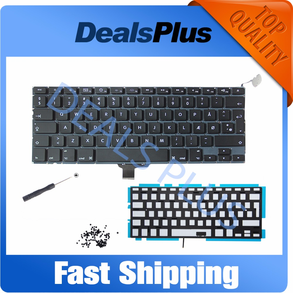 New Danish DK Denmark Nordic Keyboard WITH SCREWS + BACKLIT BACKLIGHT For MacBook Pro 13 inch A1278 2009 - 2015 Year image