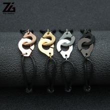 ZG Браслет-манжета для женщин и мужчин, браслет из нержавеющей стали, браслет для влюбленных