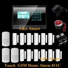 Интерком Беспроводной Домашней Безопасности GSM Сигнализация 850/900/1800/1900 МГЦ с Сенсорным ЖК-Панели