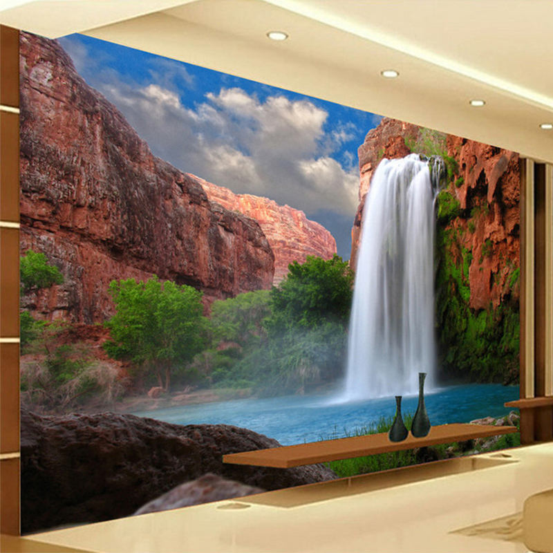 Photo Wallpaper 3D Waterfalls Nature Mural Living Room Bedroom Restaurant Background Wall Papers For Walls 3D Papel De Parede 3d mural papel de parede purple romantic flower mural restaurant living room study sofa tv wall bedroom 3d purple wallpaper
