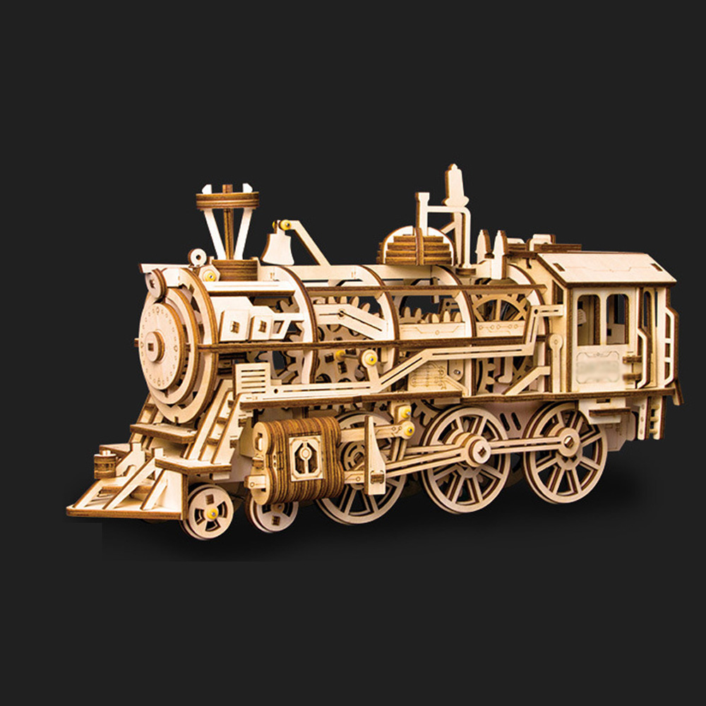 New DIY Gear Drive Wooden Mechanical Model Building Kits Assembly Toy Gift Retro train model