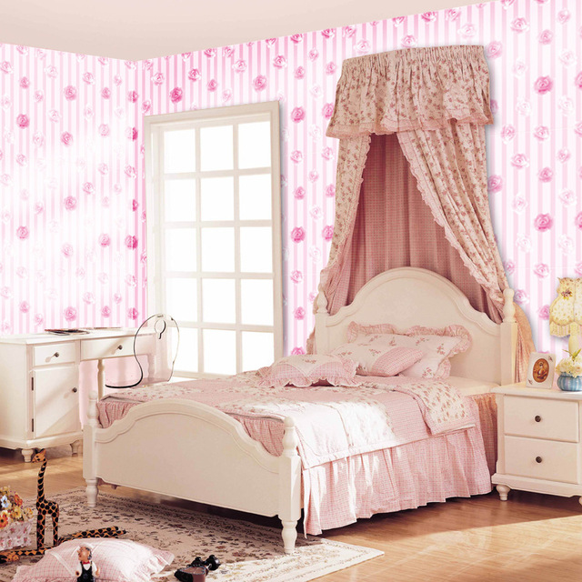 PVC Creative Stickers Rose Wallpaper For Kids Rooms Art Wall ...