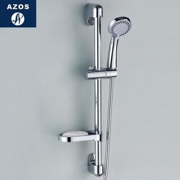 Azos Shower Rod Abs Plastic Chrome Rise And Fall Three Functions Rotatable Shower Room Shower Laundry Pool Round HSSJ009A