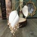 Korea Bridal Feather Simulated pearl Hairbands Tiara Hair Jewelry Wedding Accessories Novia Casamento Acessorios Para Mulher