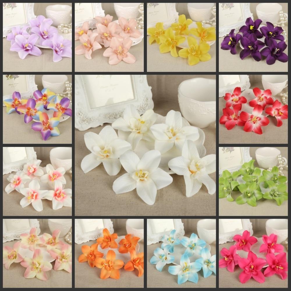 50pcs 3 인치 인공 실크 꽃 Cattleya hybrida 꽃 머리 집 정원 장식 파티 및 결혼식 호의 AFH50054