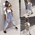 Girls Jeans Overalls For Girl Denim 2016 spring Pocket Jumpsuit Bib Pants Children's hole Jeans Baby Overall For Kids 2-7Years