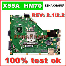 ESHAKHARE X55A Motherboard REV.2.1/2.2 HM70 For ASUS X55A Laptop motherboard X55A Mainboard X55A Motherboard 100% test OK(China)