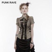 Панк рейв стимпанк Лето короткий рукав женская кофейная рубашка ретро скелет пуговицы эластичный пояс регулируемый фонарь Блузы с манжетами