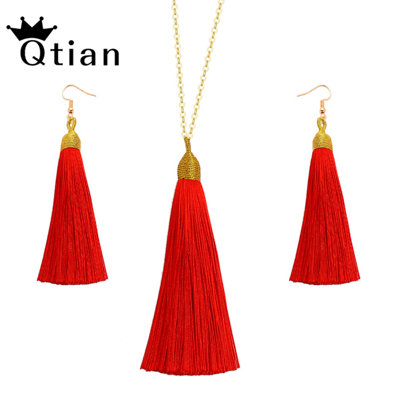Qtian European Exaggerated Jewelry Set Vintage Silk Statement Fringe Boho Long Tassel Drop Earrings Necklace Women Fashion Punk in Jewelry Sets from Jewelry Accessories