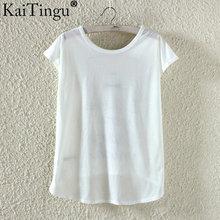 Women Cute T Shirt High Low Style Cat Print  Short Sleeve (M-XL)