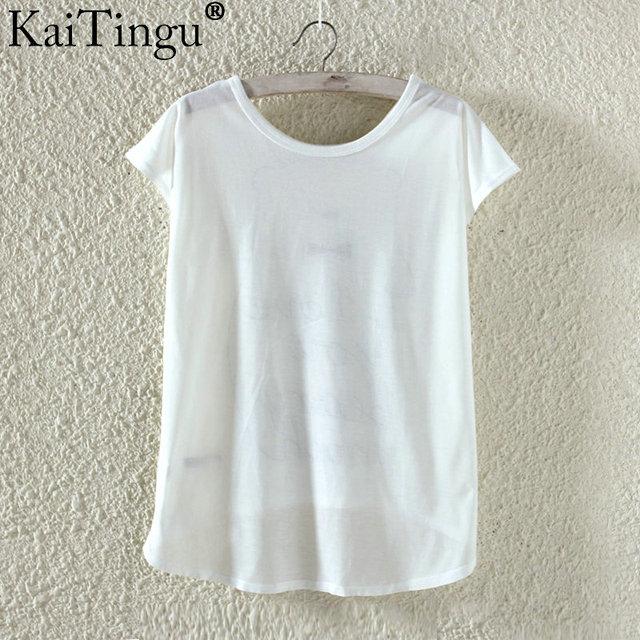 KaiTingu Fashion Summer Kawaii Cute T Shirt Harajuku High Low Style Cat Print T-shirt Short Sleeve T Shirt Women Tops M XL Size