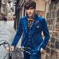 Azul de terciopelo chaqueta de los hombres ropa de la marca slim fit 98% algodón de la manga completa casual blazers nuevas llegadas 2016 solo pecho leaisure