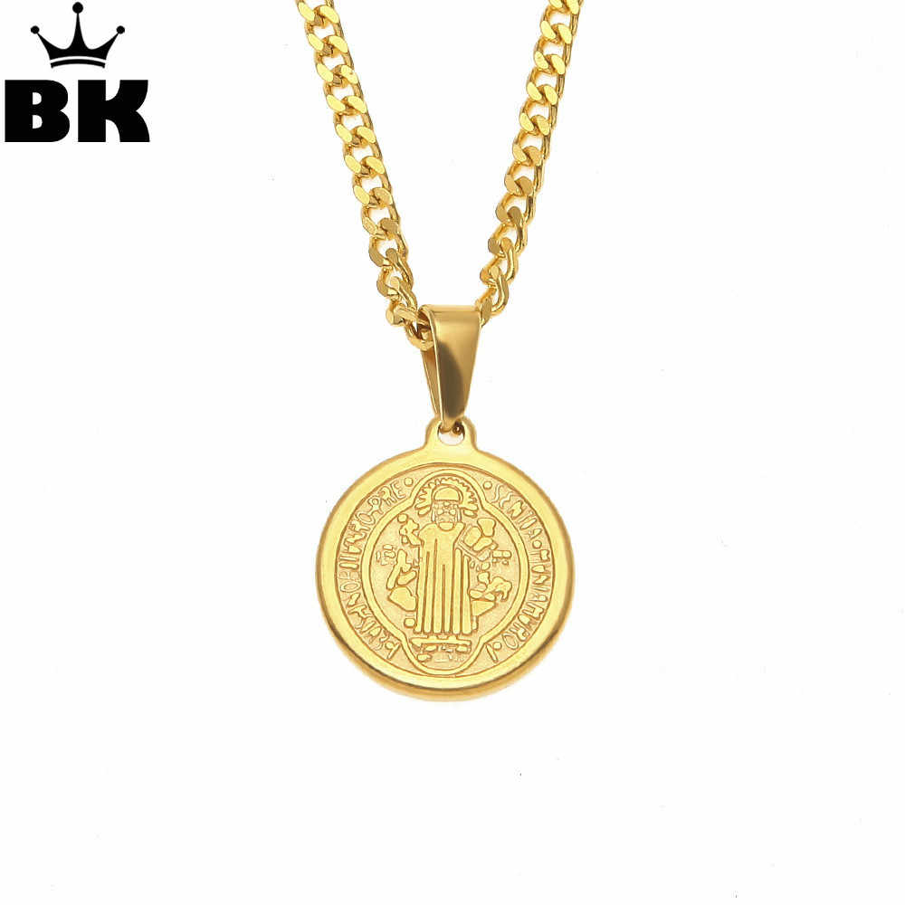"Hip hop Golden CSSML NDSMD Necklace Stainless Steel Cross Saint Benedict Medallion Medal Charm Necklace 3mm 24"" Cuban Chain"
