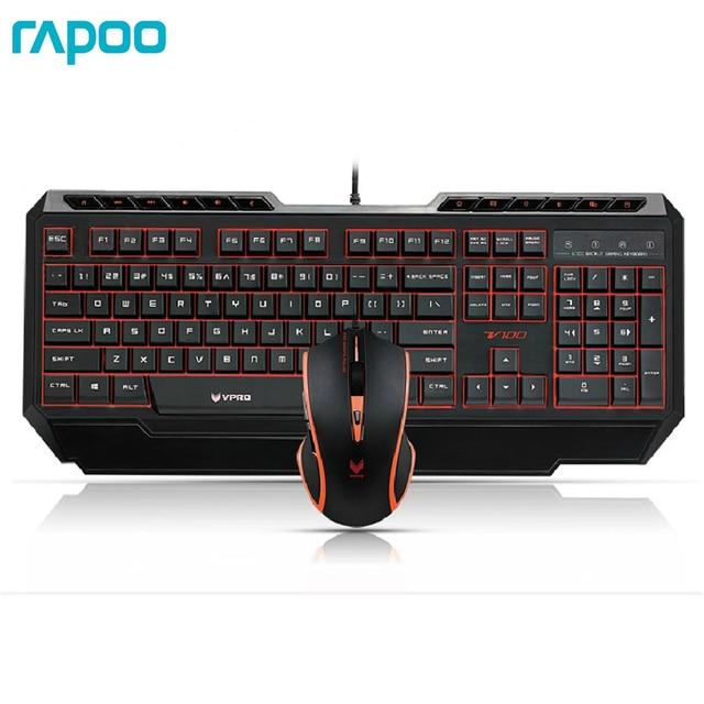 Rapoo V100 Keyboards Mouse Set 16-million-color Backlit Gaming Keyboard and Mouse Combo For Dota 2 Gamer LOL Game