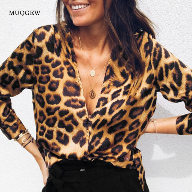 Fashion Womens  Leopard  Long Sleeve shirts Casual Loose Tops Tunic