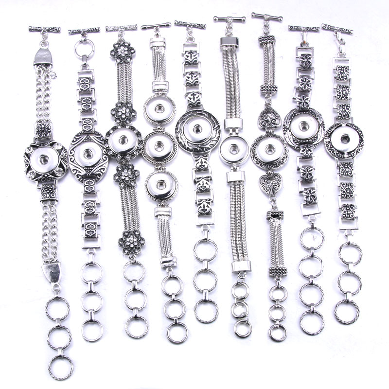 Fashion Beauty Punk Metal Alloy rhinestone pattern snap bracelets adjustable fit 18mm snap buttons snaps jewelry wholesale