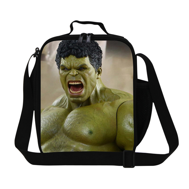 Hot SuperMan Hulk Cartoon Lunch Bag Mens Hero The Avengers Cooler Lunch Box For School Kids Insulated Food Bag For Working