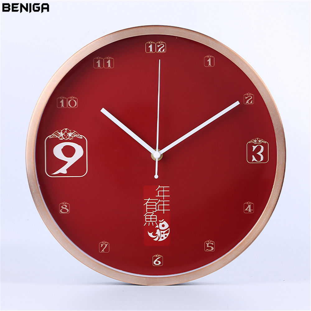 Minimalist Black Red Wall Clock Vintage Chinese Style Luxury Graceful Round Silently Quartz Needle Mute Wall Clock for Decor