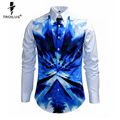 Troilus 2016 New Arrival Colorful Paint Watercolor Print Long Sleeve Shirt Blue Camouflage Printed Fashion Slim Social Shirts