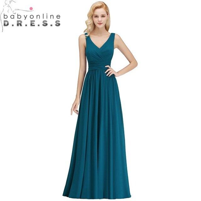 38edd9186546 Robe Demoiselle D'honneur Sexy V Neck Sleeveless Bridesmaid Dresses Long  Chiffon 34 Colors Custom Make Wedding Guest Dress