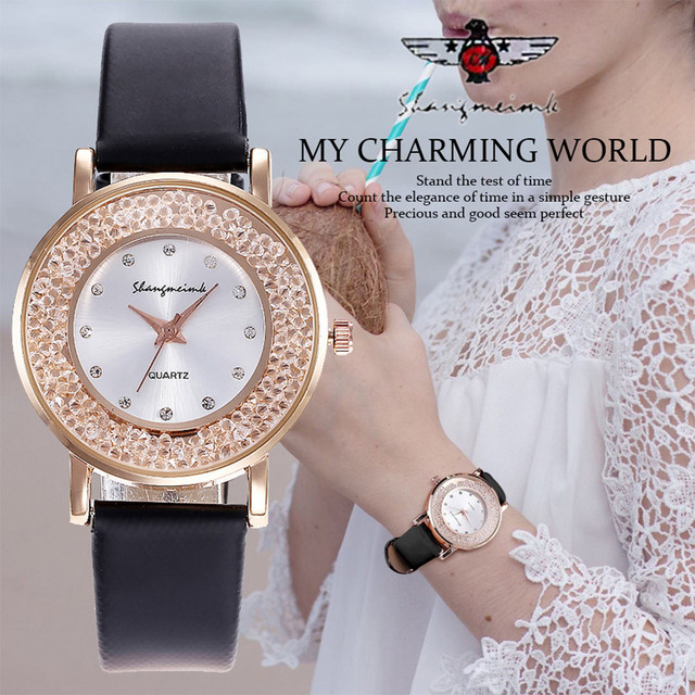 2018 2018 Women Leather Diamond Watch Female Crystal Stainless Steel Wrist Watch