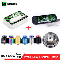 Original Wotofo Profile RDA tank Atomizer 24mm with 10pcs mesh coil 0.18ohm vape cotton Wick rebuildable e cigarette Vape Tank