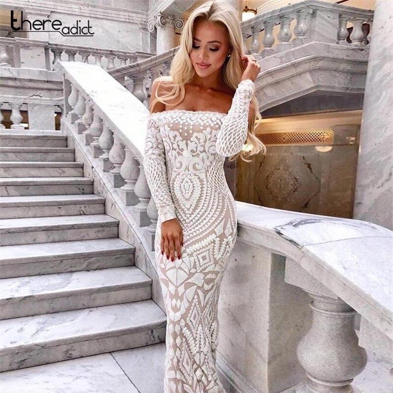 Elastic Sequins Dress Off Shoulder Slash Neck Tight White