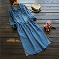 brief Single-breasted Commuter Korean sash waist pocket long Sleeve denim Dress mori girl 2016 autumn