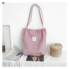 Korean womens shoulder bag student literary cloth large capacity handbag corduroy shopping