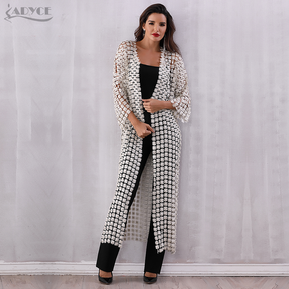Adyce 2018 Women Dress Elegant Long Dress Vestidos Pearls Beading Sash Club Maxi Dress Elegant Long Sleeve Evening Party Dress