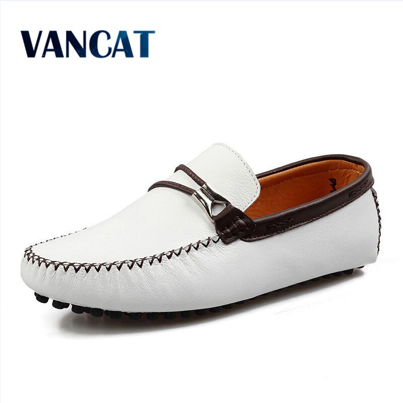 VANCAT 2018 New Genuine Leather Men Shoes Casual Shoes Fashion Men Leather Shoes Slip On Men Leather Loafers  Men Boat Shoes branded men s leisure casual genuine leather penny loafers shoes slip on boat shoes moccasin flat shoes men s driving shoes new