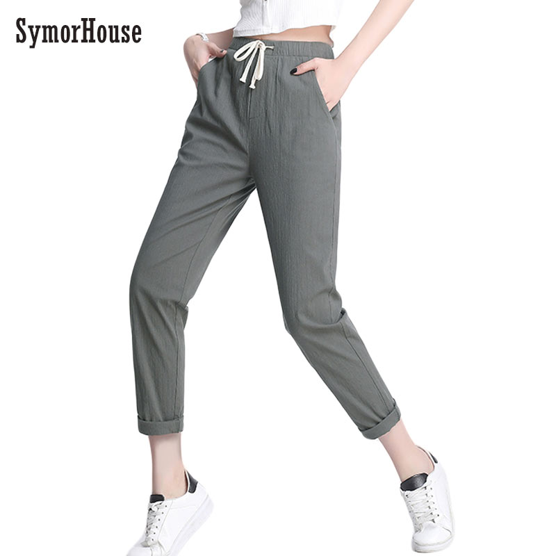 2019 summer new women's casual   pants     capris   fashion cotton Linen ankle-length   pants   elastic waist harem   pants   Crops size 5XL