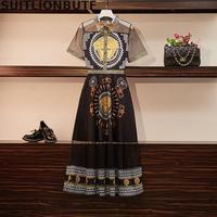 Xl 5xl Sheer Stitching Print Long Summer Dress Turn down Collar Short Sleeve Thin High Waist Maxi Dress Plus Size Retro Dress