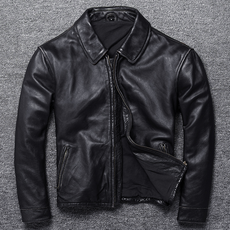 Free shipping.Vintage Brand clothing men cow leather Jackets,men's genuine Leather biker jacket.casual homme Fitness plus size