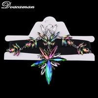 Dvacaman Multicolored Luxury Crystal Chokers Necklace Pendant Collar Maxi Bohemian Statement Jewelry Christmas Gift 7170