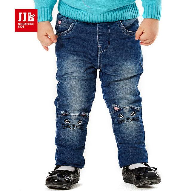 Pantalones vaqueros del bebé rodilla lindo gato niños ripped jeans baby girls pantalones niños pantalones de cuerpo entero elástico ropa de bebé 2015