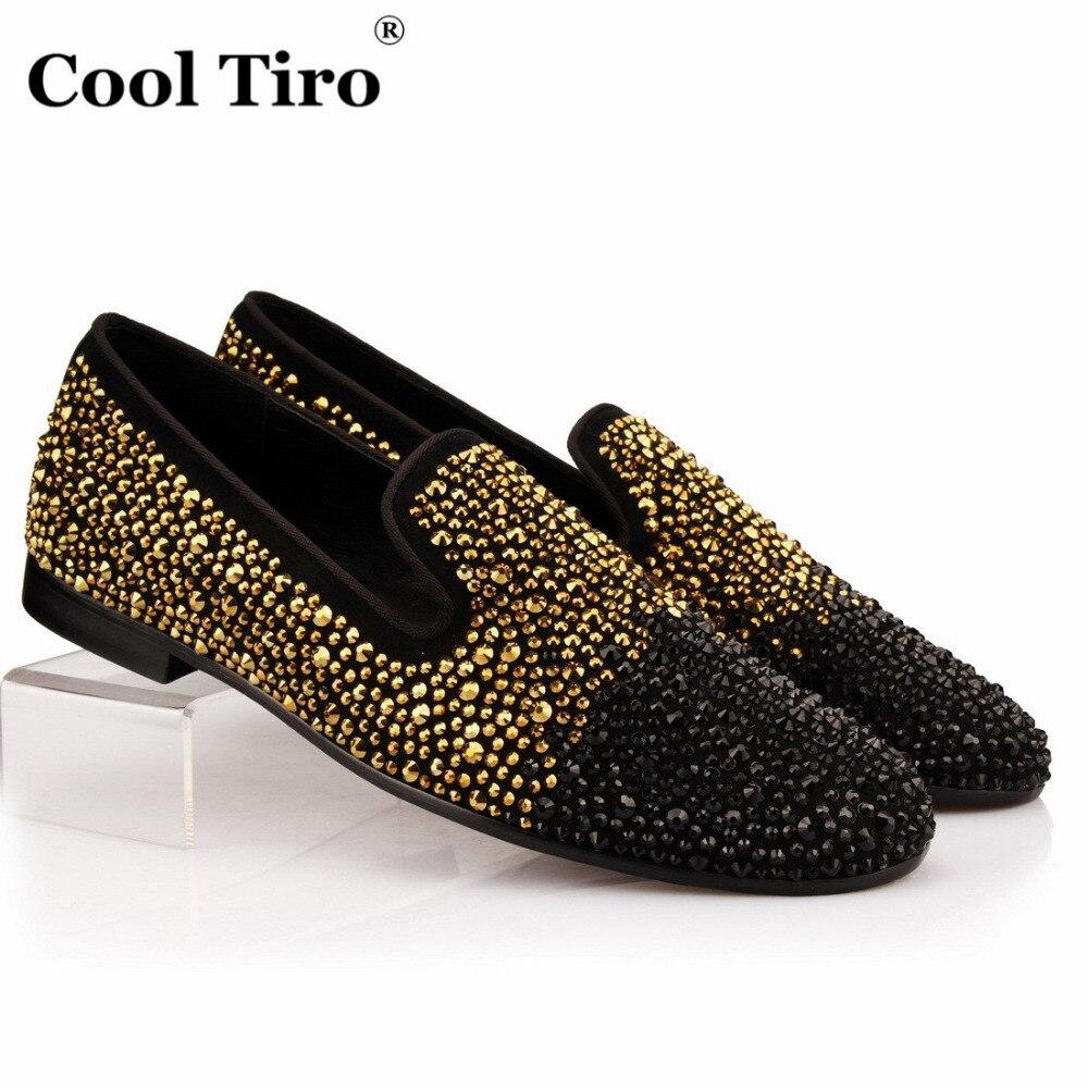 Mariage Or Robe on Fumer Pantoufles Tiro Slip Hommes Appartements De Mocassins Noir Cool Partie Gold Strass Daim En Chaussures 35RAjq4L