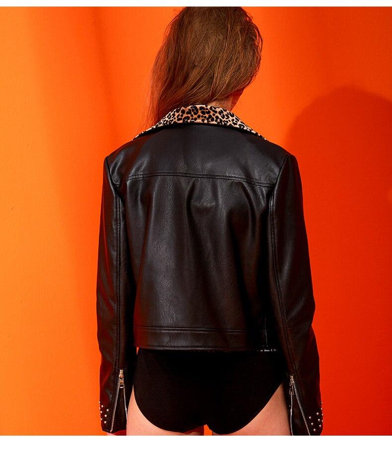 Bonne Mode Rivet Pu Street Ceinture Leopard De Qualité Zipper Wj1130 En Marque Black Automne Femme Veste Avec Cuir Style qtEwCx1tX