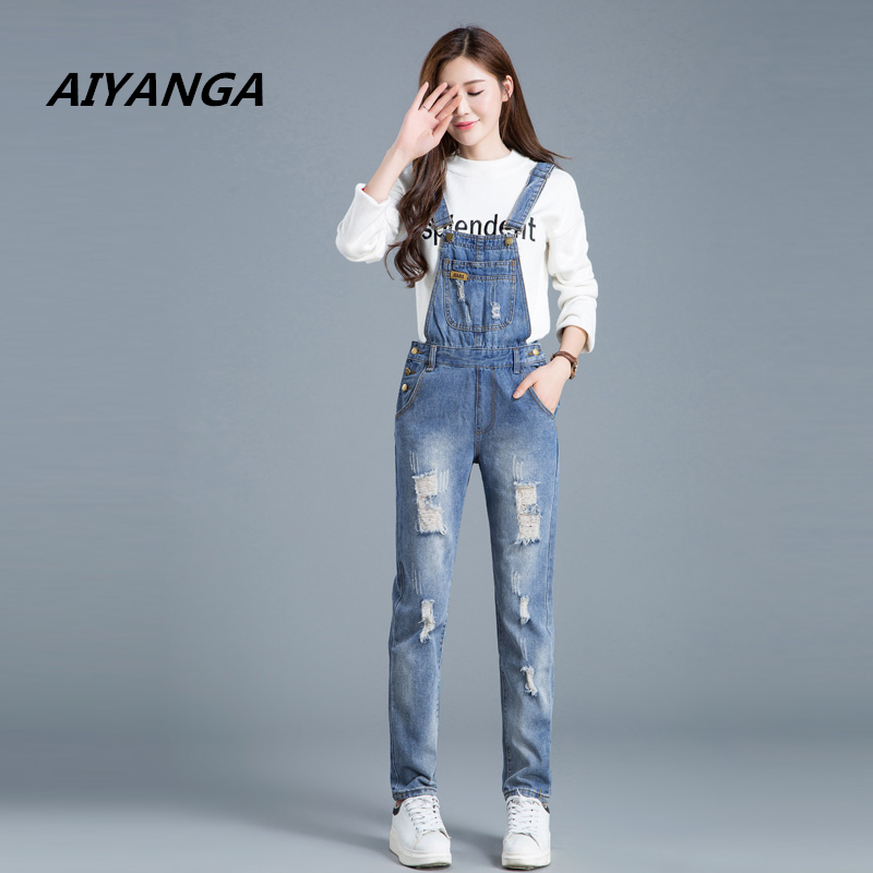New Preppy style casual women denim overalls fashion hole strap jeans loose high waist jumpsuit female trousers autumn pants 2015 new fashion women s overalls trousers plus sizes women casual jeans denim suspenders pants jumpsuit free shipping q548