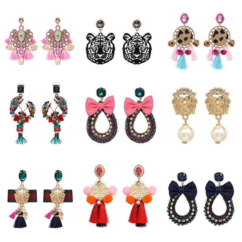 Модные серьги-подвески в этническом стиле, большие серьги в стиле барокко, вечерние аксессуары для девочек