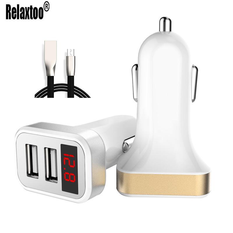 Dual USB LED Display Car Charger For Samsung Xiaomi Mobile Phone Charger 5V 2.1A USB Cable Car-charger For iPhone iPad Huawei