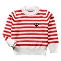 QUIKGROW 3 ~ 4 Años Niños Sweaters Para Niños Niñas Niños de Manga Larga Superior Rayas Tejido de Punto Tops Jumpers Rojo y Negro MA11MY